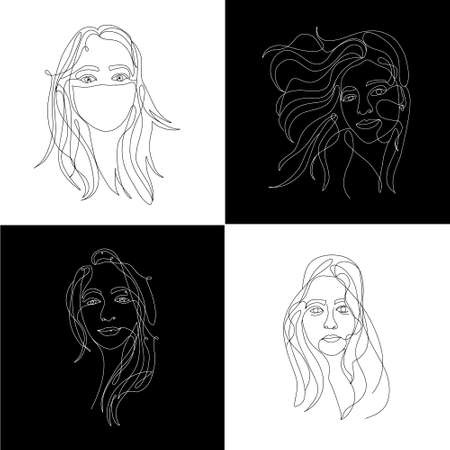 Continuous white line on black background, one line, drawing of face and hairstyle, fashion concept, woman beauty minimalist, vector stock illustration for t-shirt, slogan design print graphics style