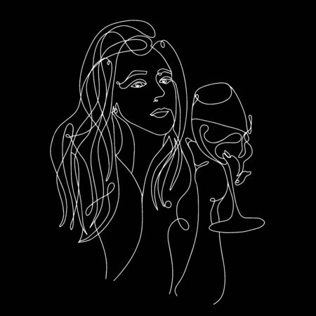 Continuous line, one line, drawing of face and hairstyle, fashion concept, woman with glass of wine beauty minimalist, vector stock illustration for t-shirt, slogan design print graphics style Banque d'images - 150164360