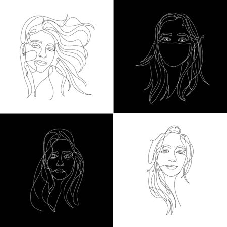 Continuous white line on black background, one line, drawing of face and hairstyle, fashion concept, woman beauty minimalist Illusztráció