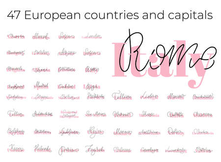 List of European countries and capitals names. Lettering. Hand drawn vector illustration. element for flyers, banner, postcards and posters. Modern calligraphy.