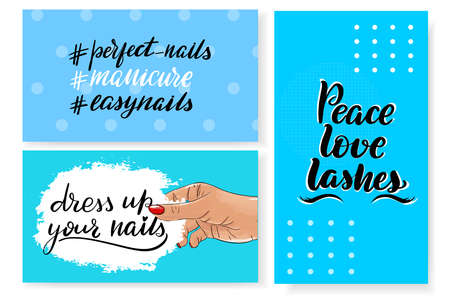 Nails master gift voucher card template. Pop art discount coupon or certificate layout with polka dot shape pattern. Vector fashion blue background design with information text. But first manicure. Vettoriali