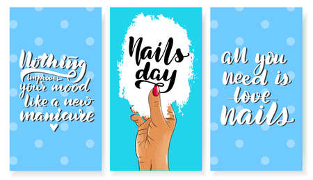 Nails master gift voucher card template. Pop art discount coupon or certificate layout with polka dot shape pattern. Vector fashion blue background design with information text. But first manicure.