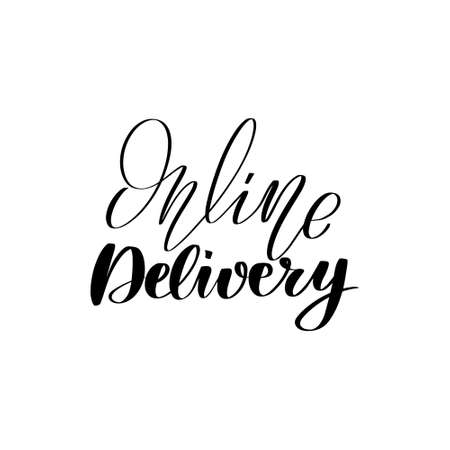 Inspirational handwritten brush lettering online delivery. Vector calligraphy stock illustration isolated on white background. Typography for banners, badges, postcard, t-shirt, prints.