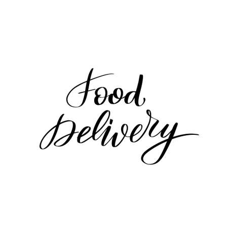 Inspirational handwritten brush lettering food delivery. Vector calligraphy stock illustration isolated on white background. Typography for banners, badges, postcard, t-shirt, prints.  イラスト・ベクター素材