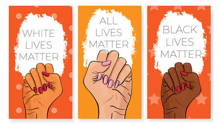 Stop racism. Black lives matter. African American arm gesture. Anti discrimination, help fighting racism poster, tolerance acceptance banner. People equality template vector stock illustration.