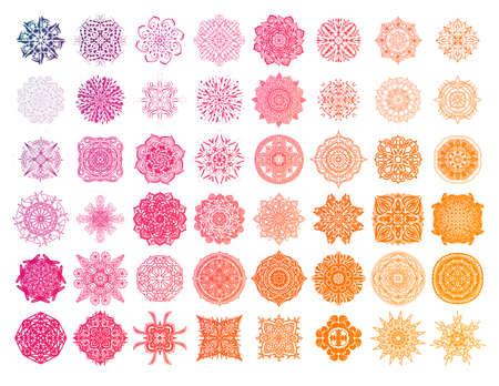 Set of round gradient mandala on white 写真素材