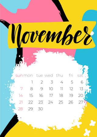 Modern November 2021 calendar, great design for any purposes.