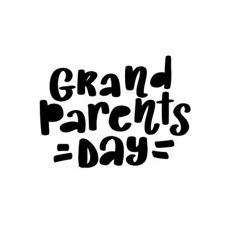 Happy Grandparents Day Calligraphy on White Background vector