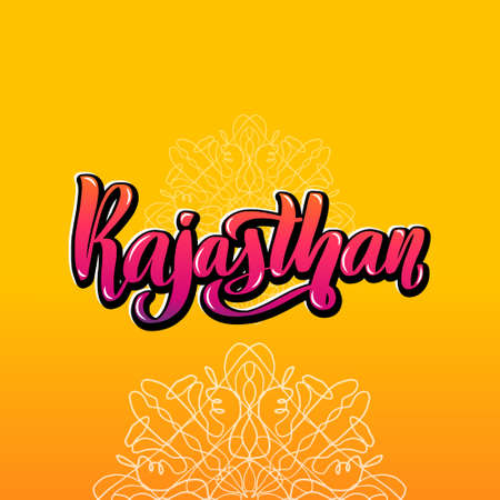 Rajasthan Handwritten stock lettering typography. States of India.