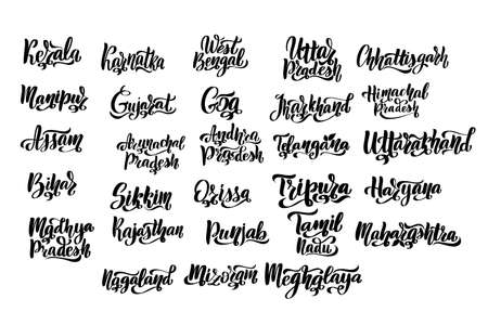 States of India. Handwritten stock lettering set ink typography.