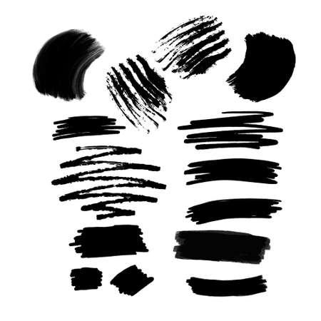 Collection of black paint, ink brush strokes, Illusztráció
