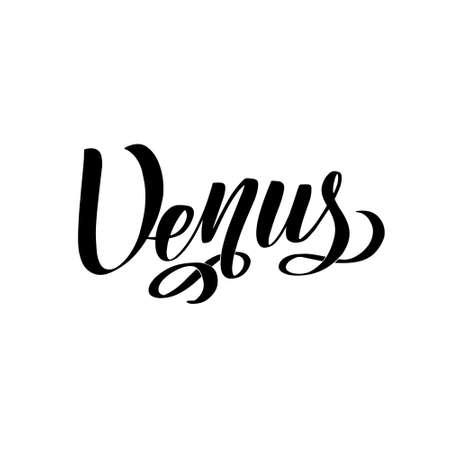 Venus. Isolated inscription. Planet Venus for print, school textbook 矢量图像