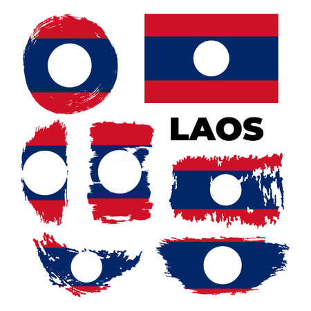 Flag of Laos with brush stroke effect. Laos flag template design.
