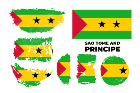 Artistic grungy watercolor brush flag of Sao Tome and Principe country.