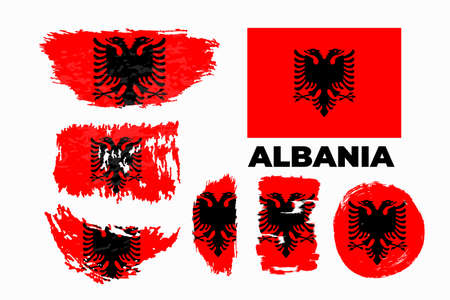 Flag of Albania page symbol for your web site design Albania