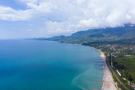 The Black Sea coast from the height of the flight. Aerovideo. New Athos, Abkhazia, Georgia. Stock Photo