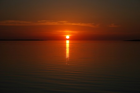 Beautiful sea sunset, between two islands in Estonia
