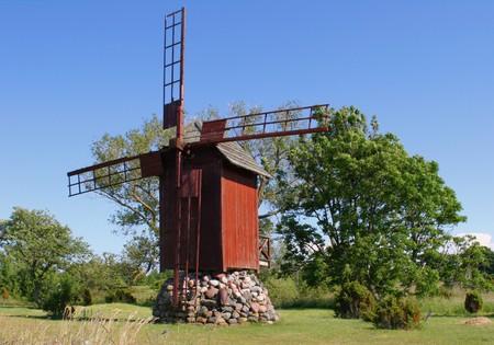 Old windy mill on island Saaremaa in Estonia