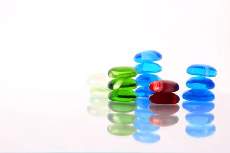 Color glass stones: dark blue, green and red Stock Photo