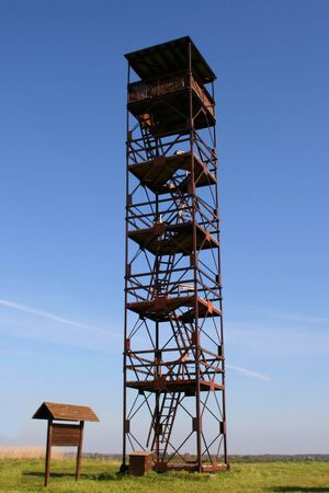 High survey tower in reserve in Estonia Stock Photo