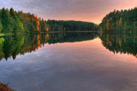 Colorful autumn wood at lake in Estonia Stock Photo