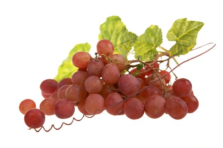 red grape cluster with leaves, isolated on white background Stock Photo