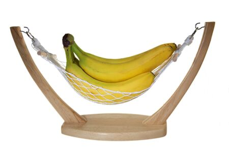 Bananas in hammock isolated on a white background