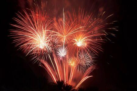 Big red firework in Dubai, summer