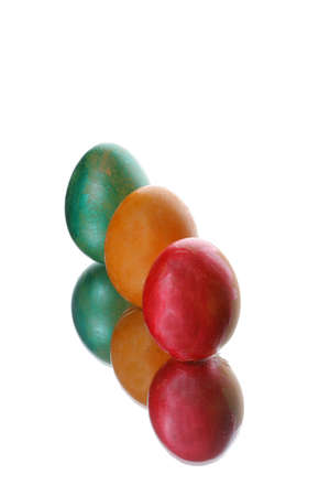 coloured easter eggs on a white background photo