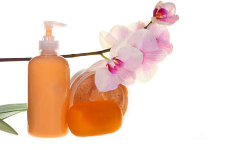 Spa treatment: soap, cream and scrub with orchid