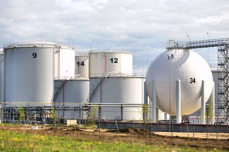 Big White gaz and fuel Storage Tanks Stock Photo - 4922992