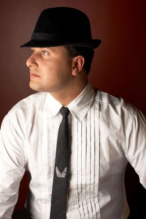Close-up of a young man in a trilby Stock Photo