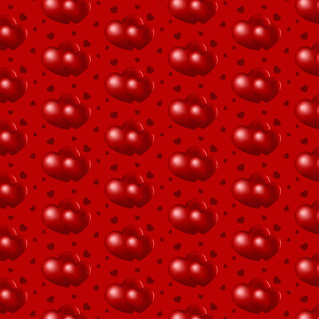 Two hearts on red background, seamless patterns