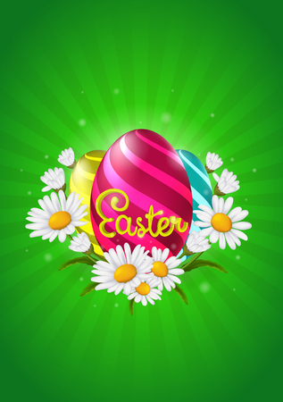 Easter eggs with colorful eggs and chamomile flowers on a green