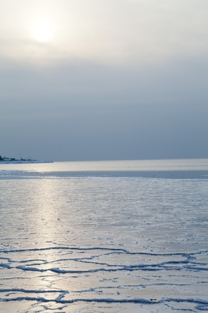 Ice on the sea in the light of the soft coming sun photo