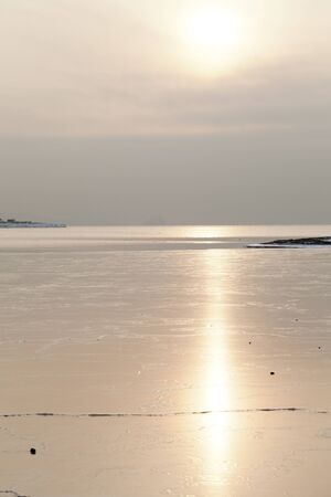 Ice on the sea in the light of the soft coming sun Stock Photo - 17032655