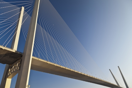 Big suspension bridge 'Zolotoy' in Vladivostok against the blue sky photo