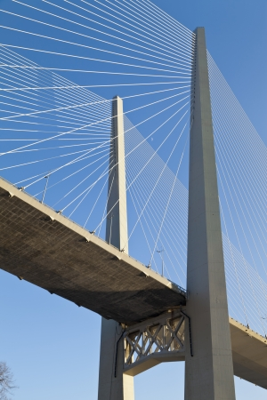 Big suspension bridge  Zolotoy  in Vladivostok against the blue sky photo