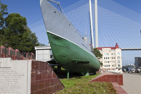The submarine costs as a monument in a memorial of military glory