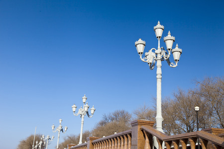 Streetlight in the afternoon in the light of a bright sun Stock Photo