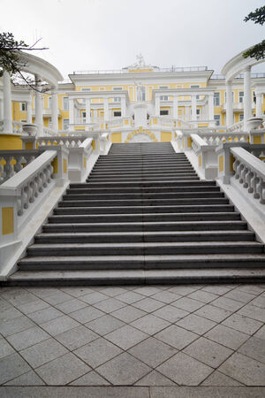 Staircase to a beautiful castle in the old style