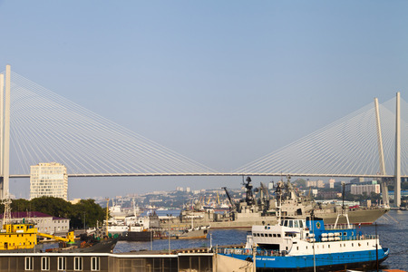 Large suspension bridge over the sea bay