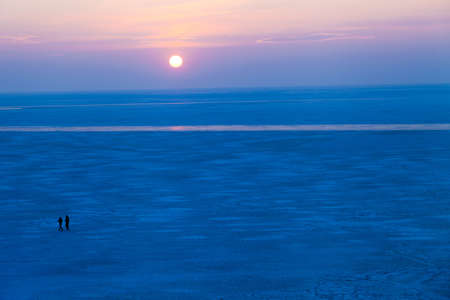 the decline: Ice decline over the frozen sea in cold weather