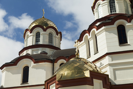 domes: The orthodox church sparkles on the sun the gold domes