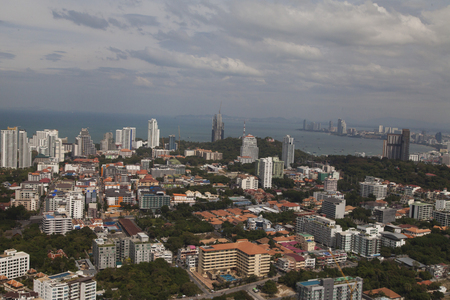 View of the sea city from height of birds flight Stock Photo