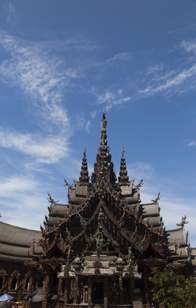stands: Beautiful Buddhist temple stands out for its wooden architecture Stock Photo