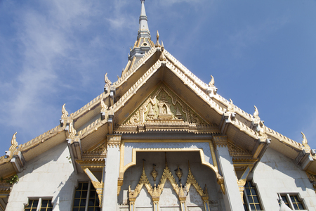 The beautiful Buddhist temple waiting for Buddhist parishioners Stock Photo