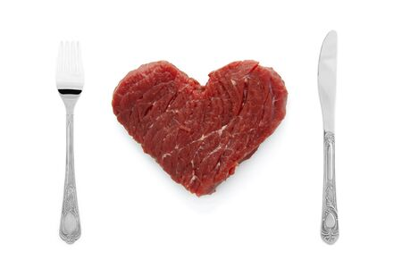 raw steak: Image of the heart of the meat Stock Photo