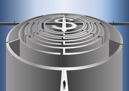 path to the money in the form of a labyrinth Illustration