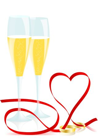 Champagne glasses, wedding rings and heart of the red ribbon